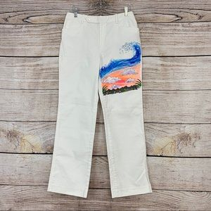 Hand Painted Hawaiian Ocean Scene White Pant